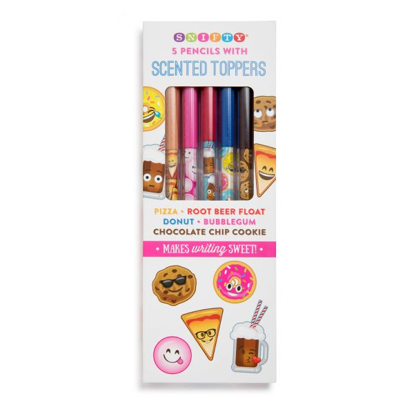 Scented Pencil Toppers with Emoji Themed Pencils (5 Pack)-0
